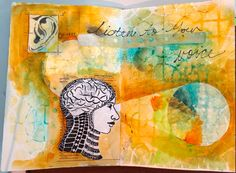Mixed Media Art Journal page from Pam Carriker with StencilGirl stencils.