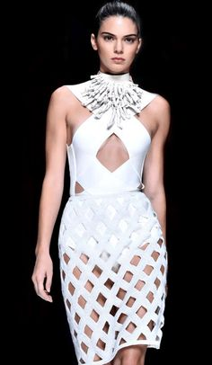 Tigris White Cut Out Bandage Dress