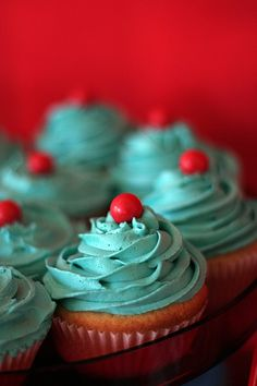 Cupcakes ~ Aqua and Red