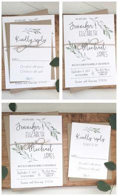 Modern wedding invitation. Greenery wedding invitation. Rustic wedding