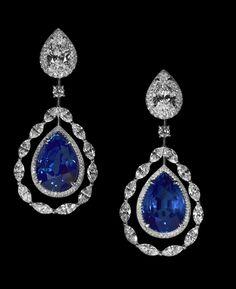 diamond, blue pear sapphire.