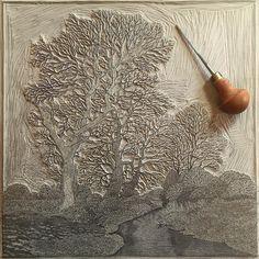 Nearly there! #glavenvalleylinocut #glavenvalley #carving #linocut #linoprint #linocutprint #norfolklandscape #norfolktrees