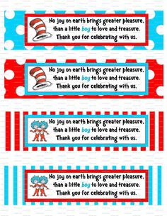 Dr. Seuss Baby Shower or Birthday Party Water Bottle Labels. $2.99, via Etsy.