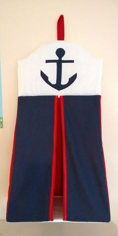 Navy, red and white nappy stacker with a navy anchor appliqued on the top. Holds around 80 nappies. Girl Nursery, Nursery Ideas, Nautical Baby Bedding, Navy Anchor, Nursery Accessories, Doll Quilt, Easy Storage, Baby Boy Nurseries, Baby Sewing