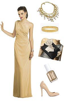 Style Challenge: Bridesmaid Ensamble Ideas ~ Gold Bridesmaids Dress