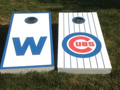 Hand Painted Cubs w/W (win) Cornhole Boards