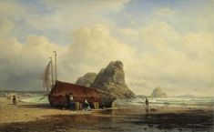 Сцена на берегу, Бретань - Боголюбов Алексей Петрович