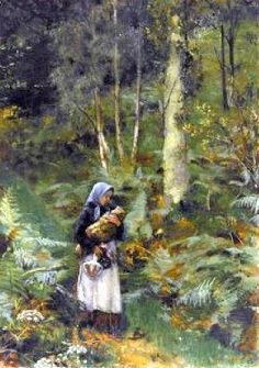 """""""With A Babe In The Woods"""" by Laura Theresa Alma-Tadema (1852 – 1909, English)"""
