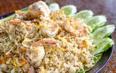 Stir-Fried rice with shrimp, herbal magic