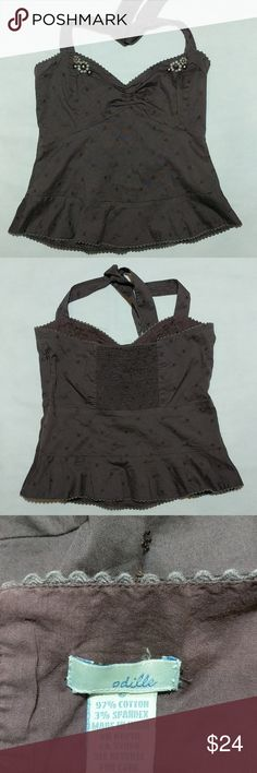"Anthropoligie Odille Halter Top Brown halter with embroidery and beading, side zipper, ruffle on the bottom, chest measures 15"" across but stretches in the back, 14"" long, GUC Anthropologie Tops"