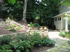 Tennessee Fieldstone stacked stone walls, solid stone steps, bluestone patio. WWW.HawkinsLA.com