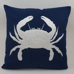 Embroidered Decorative Pillow Cover  Crab  18 x 18 by IndoDesigns