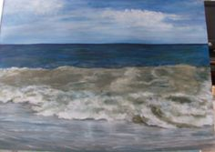 Acrylic painting of the ocean surf and sky by Carol Kuhrt of Sussex, NJ. Amazing, looks like you could walk right into the water!