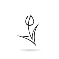 Abstract tulip icon vector art illustration