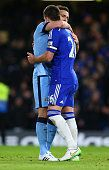 Frank Lampard of Manchester City and John Terry of Chelsea at the final whistle in the Barclays Premier League match between Chelsea and Manchester...