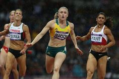 Australia's Sally Pearson lunges for the line in the 100m hurdle final. HAVE I DONE IT?