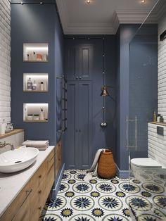 Напольное покрытие в ванной как красивый элемент декора.