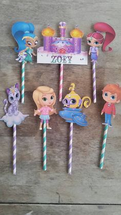Shimmer and Shine cake topper 4 inch cut by SilviasPartyDecor