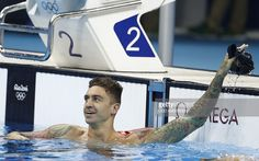 USA's Anthony Ervin celebrates after he won the Men's 50m Freestyle Final during…