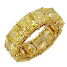 Magnificent Fancy Yellow Radiant Cut Eternity Band  13.25 Cts. Fancy yellow Radiant cut diamonds