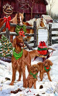"New for 2013! Irish Setter Christmas Holiday Cards are 8 1/2"" x 5 1/2"" and come in packages of 12 cards. One design per package. All designs include envelopes, your personal message, and choice of greeting. Select the inside greeting of your choice from the menu below.Add your custom personal message to the Comments box during checkout."