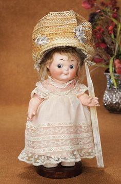 """Theriault's - Extremely Rare German Bisque Googly, 318, with Original Lamp Bonnet, 11"""""""