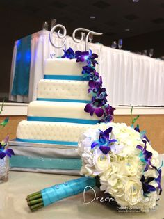 Gorgeous cake at a turquoise wedding party!   See more party ideas at CatchMyParty.com!
