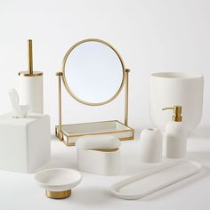 Bathroom decor for your master bathroom remodel. Learn bathroom organization, bathroom decor ideas, bathroom tile suggestions, master bathroom paint colors, and more. West Elm, Modern Bathroom Accessories, Bath Accessories, Bathroom Accesories, Stone Bathroom, Bathroom Faucets, Bathroom Mirrors, Bathroom Cabinets, Sinks
