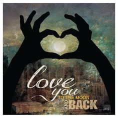 - Love you To the Moon and Back II / heart hand shadow / cityscape / Textured, finished wall decor ready to hang by Marla Rae Heart Canvas, Heart Wall Art, Canvas Wall Art, Canvas Prints, Painted Canvas, Romance, To Infinity And Beyond, Love You, My Love