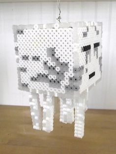 perler bead statue   Minecraft Ghast 3-D Perler Bead Statue