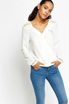 Embroidered Trim Wrap Blouse - White or Peach - Just £5  #E5P #blouse #Top #Fashion #Summer2016