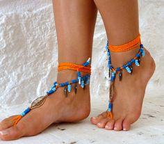 Barefoot Sandals Barefoot Beach, neon orange Jewelry Seashells Hippie Sandals Foot Jewelry Toe Thong