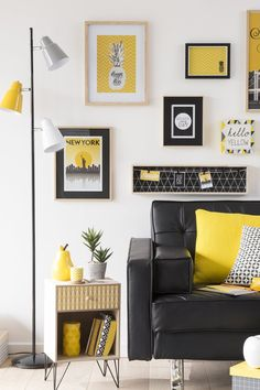 Contemporary yellow, black and gray living design