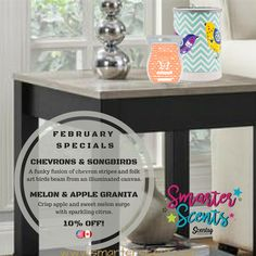 Available February 1st, 2017! Chevrons & Songbirds is a funky fusion of chevron stripes and folk art birds that beam from an illuminated canvas. Melon & Apple Granita is a combination of Crisp apple and sweet melon surge with sparkling citrus. Want to learn more about Scentsy? Join our FREE VIP Group for special perks, promotions and tips at www.smarterscents.net/vip