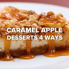 Caramel Apple Desserts 4 Ways // (tasty videos) Apple Desserts, Easy Desserts, Delicious Desserts, Dessert Recipes, Yummy Food, Desserts Caramel, Baking Desserts, Caramel Treats, Caramel Apples