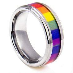 King Will Tungsten Ring 8mm Beveled Edge Polished Lesbian Gay Pride Rainbow Wedding Band
