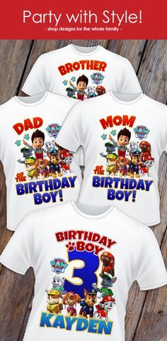 Paw Patrol Birthday Shirt designs for the whole family. Celebrate in style! Get yours in time for your next party! Follow for more updates