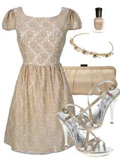 06a76d2dc4 Beige Lace Dress Collage Outfits
