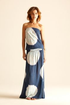 fun, fun summer dress.  i love the way it drapes and the turquoise detailing in the center of the white large dots.  $250