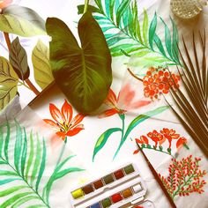 Hand painting for retro patio print inspired tropicals today. #palm #tropical #resort2016 #vintageprint #handpainted #watercolor #botanical  #designboxcreative
