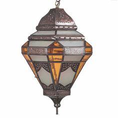 Marrakesh Stained Glass Amber Pendant Light