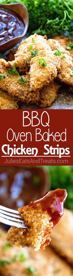 BBQ Baked Chicken Fingers Recipe ~ Homemade Chicken Fingers that are Marinated in BBQ Sauce then Dipped in Egg and Panko Crumbs for a Delicious Homemade Chicken Finger! ~ http://www.julieseatsandtreats.com