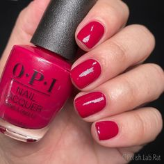 """This polish is called """"OPI Red"""" and it was the first @opi color ever made! 🤯 . It's a very berry red (u'll notice pink undertones like a… Opi Red, Opi Colors, Opi Nails, Berry, Nail Polish, Happy, Pink, Instagram, Ongles"""