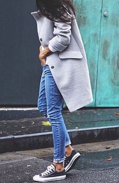 Grey jacket with blue allstars perfect combo