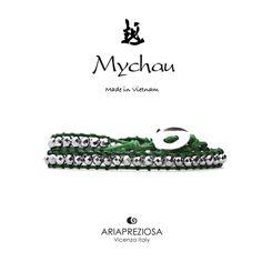 Mychau - Bracciale 2 giri Vietnam originale realizzato con pietre naturali Ematite Placcata (Argento) su base col. Verde