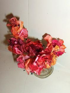 Puce Coral Vintage Millinery Flowers lot Embossed Satin Shabby Cottage Chic Home Decor or Hat Flowers. $ 9.00, via Etsy.