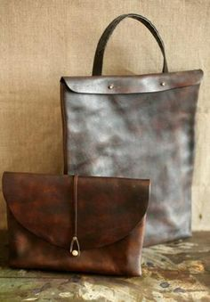 Large vegetable tanned leather satchel, bag from france, tool bag ...