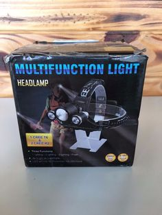 Multi-function Headlamp 200M Range 3 Functions Safety Light Hiking Bike Clip #Unbranded