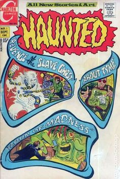 Haunted comic book vintage No 1 Sept - Revenge Of The Slave Ghost - About Tyme - Charlton Comics - Room Of Madness Scary Comics, Sci Fi Comics, Horror Comics, Comic Book Artists, Comic Artist, Comic Books Art, Comic Room, Charlton Comics, 70s Sci Fi Art