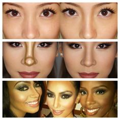 This asian girls are better than this celebs: just a line with the consealer let the nose look longer.